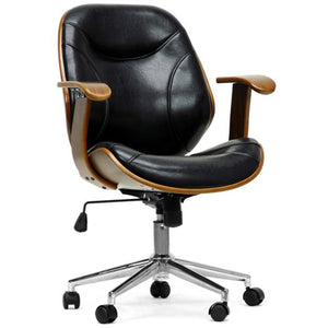 Baxton Studio Rathburn Walnut and Black Modern Office Chair Baxton Studio-office chairs-Minimal And Modern - 1