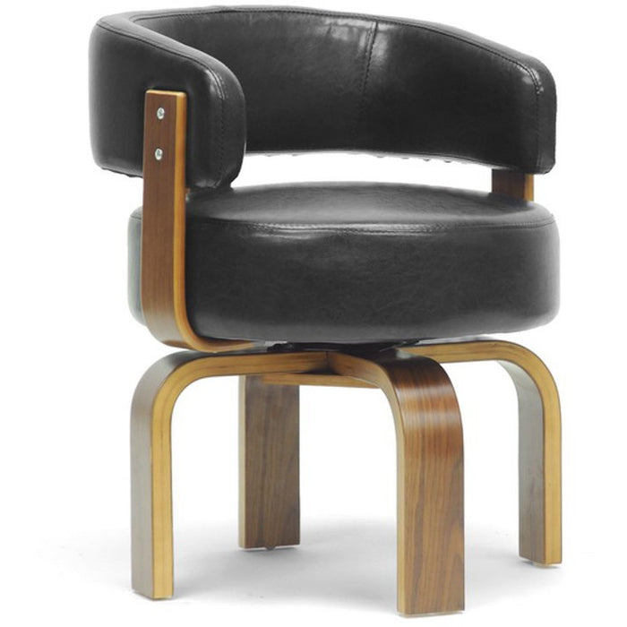 Baxton Studio Fortson Walnut and Black Modern Accent Chair Baxton Studio-office chairs-Minimal And Modern - 1