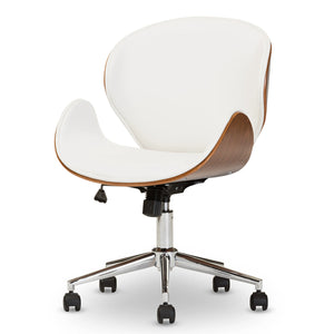 Baxton Studio Bruce Modern and Contemporary White and Walnut Office Chair Baxton Studio-office chairs-Minimal And Modern - 3