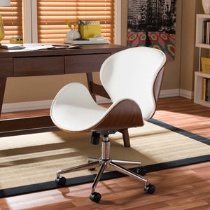 Baxton Studio Bruce Modern and Contemporary White and Walnut Office Chair Baxton Studio-office chairs-Minimal And Modern - 1