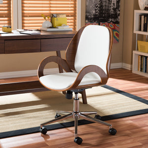 Baxton Studio Watson Modern and Contemporary White and Walnut Office Chair Baxton Studio-office chairs-Minimal And Modern - 1