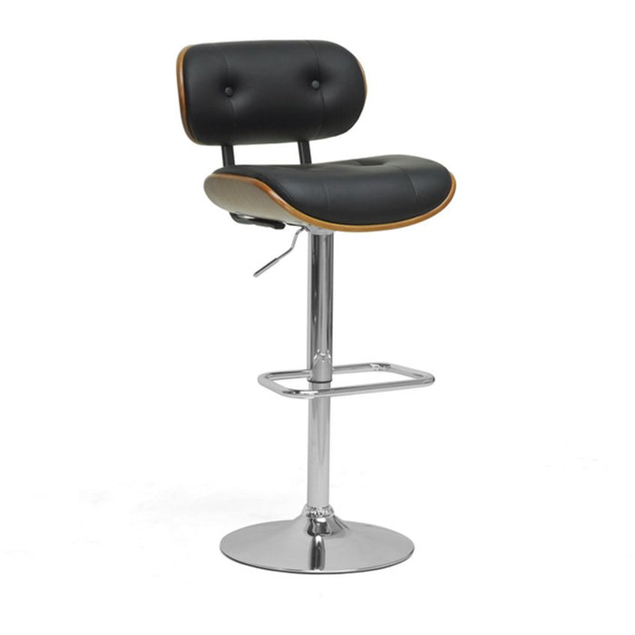 Baxton Studio Leona Walnut and Black Modern Bar Stool Baxton Studio-Bar Stools-Minimal And Modern - 1
