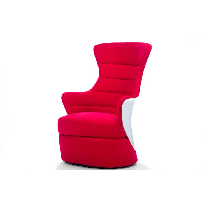 Baxton Studio Conundrum Red Fabric & White Plastic Contemporary Armchair Baxton Studio-chairs-Minimal And Modern - 1