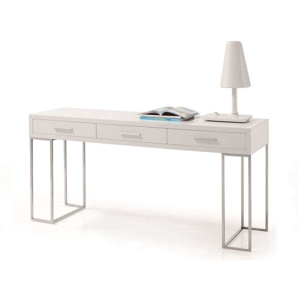 J&M Furniture White and Metal Contemporary Writing Work Computer SG02 Modern Office Desk-Minimal & Modern