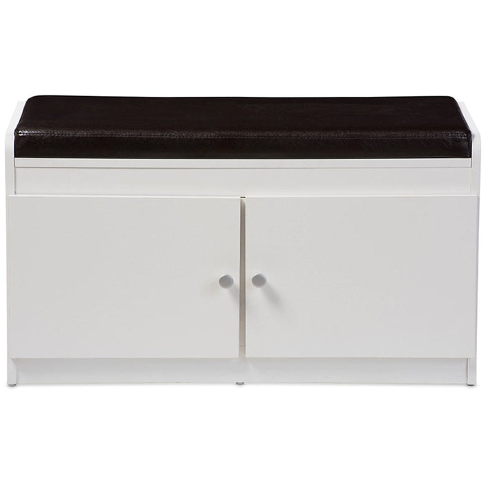 Baxton Studio Margaret Modern and Contemporary White Wood 2-Door Shoe Cabinet with Faux Leather Seating Bench Baxton Studio-benches-Minimal And Modern - 1