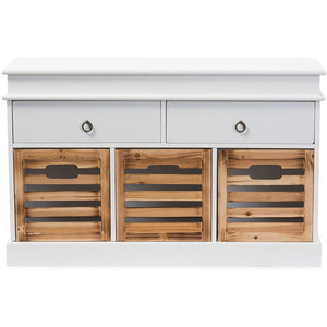 Baxton Studio Rochefort British Colonial Classical Country Style White and Natural Finished 5-Drawer Storage Bench Baxton Studio-benches-Minimal And Modern - 1