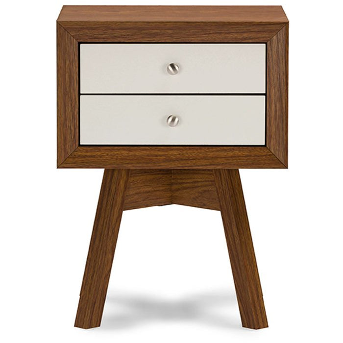 Baxton Studio Warwick Two-tone Walnut and White Modern Accent Table and Nightstand Baxton Studio-nightstands-Minimal And Modern - 1