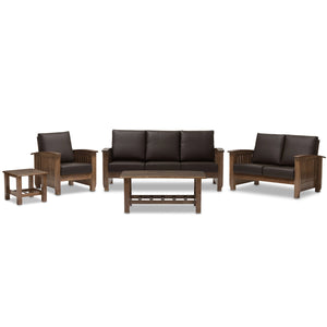Baxton Studio Charlotte Modern Classic Mission Style Walnut Brown Wood and Dark Brown Faux Leather Living Room 5-Piece Set Baxton Studio--Minimal And Modern - 1
