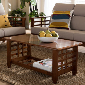 Baxton Studio Larissa Modern Classic Mission Style Cherry Finished Brown Wood Living Room Occasional Coffee Table Baxton Studio-coffee tables-Minimal And Modern - 1