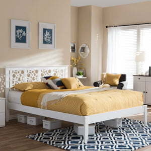 Baxton Studio Celine Modern and Contemporary Geometric Pattern White Solid Wood Queen Size Platform Bed  Baxton Studio-Queen Bed-Minimal And Modern - 1