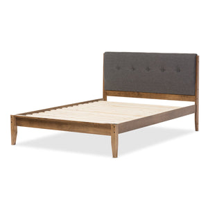 Baxton Studio Leyton Mid-Century Modern Grey Fabric Upholstered King Size Platform Bed  Baxton Studio-King Bed-Minimal And Modern - 4