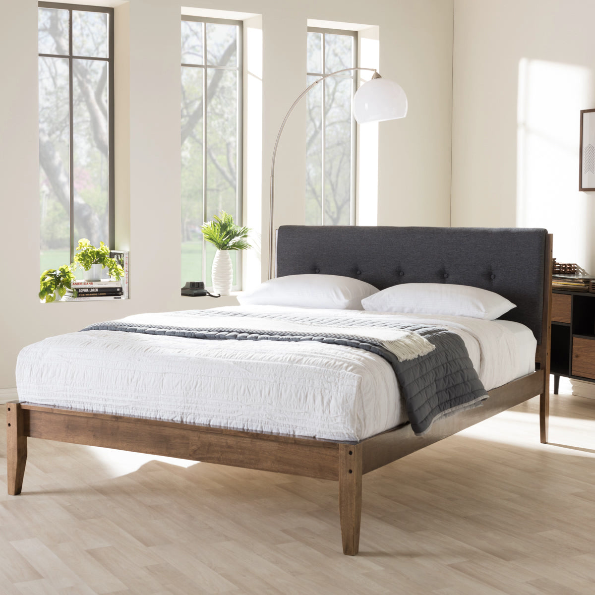 Baxton Studio Leyton Mid-Century Modern Grey Fabric Upholstered King Size Platform Bed  Baxton Studio-King Bed-Minimal And Modern - 1