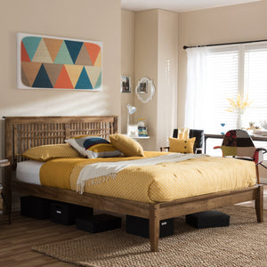 Baxton Studio Loafey Mid-Century Modern Solid Walnut Wood Window-Pane Style Full Size Platform Bed  Baxton Studio-Full Bed-Minimal And Modern - 1