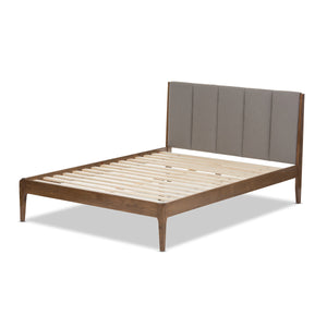 Baxton Studio Ember Mid-Century Light Grey Fabric and Medium Brown Finish Wood Queen Size Platform Bed Baxton Studio-Queen Bed-Minimal And Modern - 4