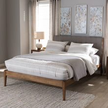 Baxton Studio Clifford Mid-Century Light Grey Fabric and Medium Brown Finish Wood Full Size Platform Bed Baxton Studio-Full Bed-Minimal And Modern - 7