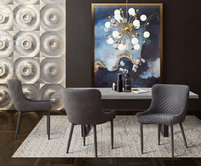 TOV Furniture Edna Concrete Table + 6 Draco Grey Velvet Side Chairs