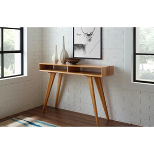 Greenington Azara Tiger Console Table With Tiger Exotic Inlay, Caramelized-Minimal & Modern