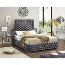 Meridian Furniture Sedona Grey Velvet King Bed-Minimal & Modern