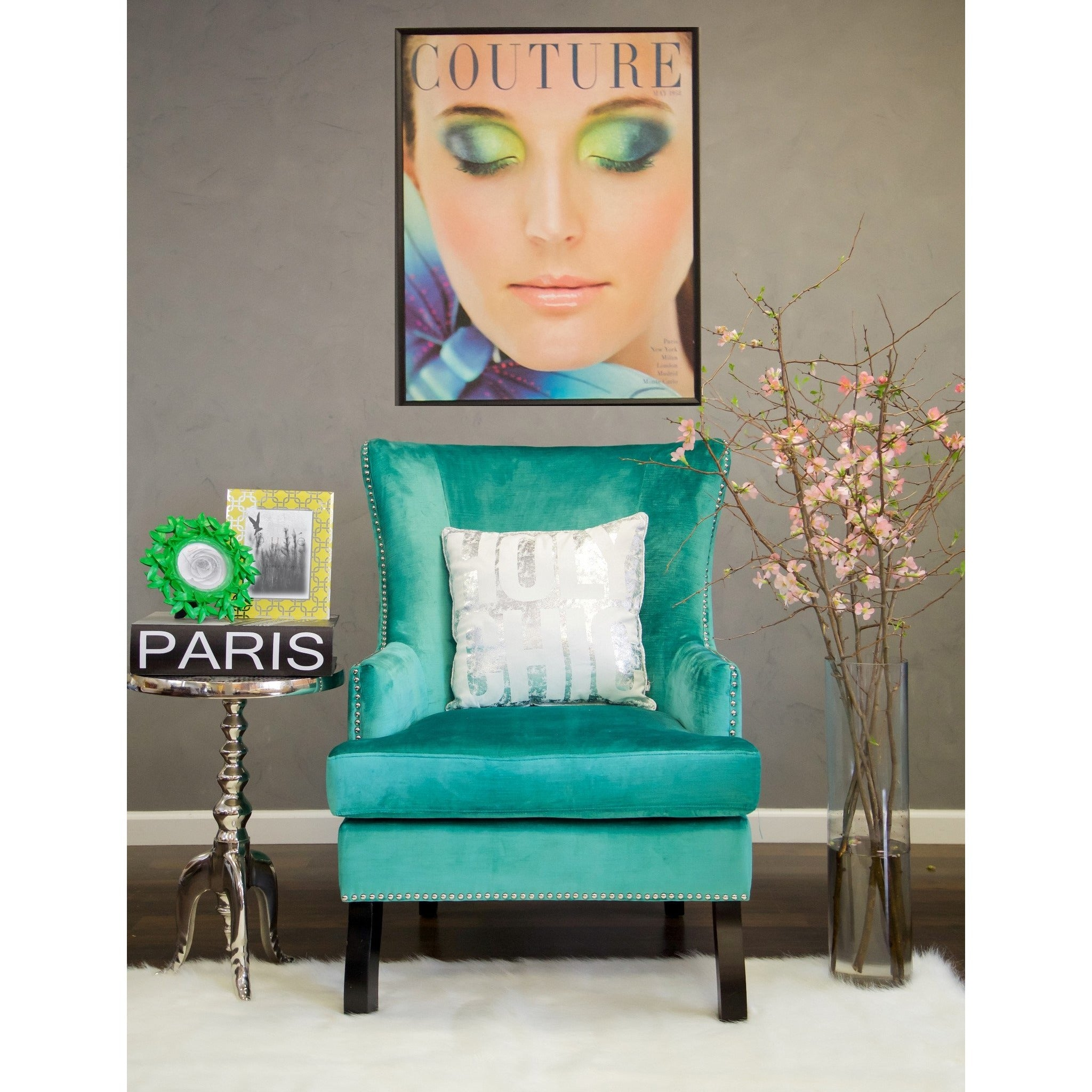 TOV Furniture Modern Soho Turquoise Velvet Wing Chair TOV ...