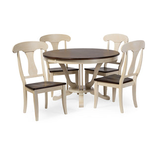 Baxton Studio Napoleon Chic Country Cottage Antique Oak Wood and Distressed White 5-Piece Dining Set with 48-Inch Round Pedestal Base Fixed Top Dining Table Baxton Studio--Minimal And Modern - 1
