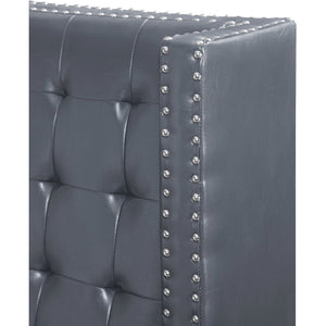 TOV Furniture Modern Halifax Grey Leather Banquette Bench TOV-63116-Grey-Minimal & Modern