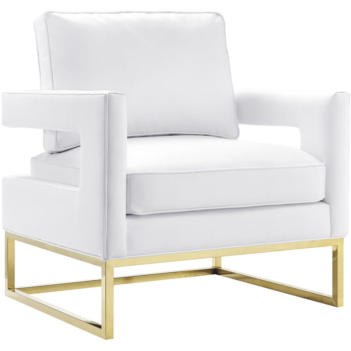 TOV Furniture Modern Avery White Leather Chair , Armchair - TOV Furniture, Minimal & Modern - 1