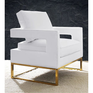 TOV Furniture Modern Avery White Leather Chair TOV-A111-Minimal & Modern