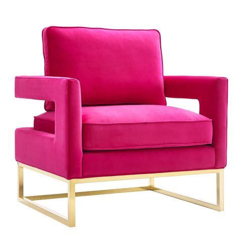 TOV Furniture Modern Avery Pink Velvet Chair , Armchair - TOV Furniture, Minimal & Modern - 1