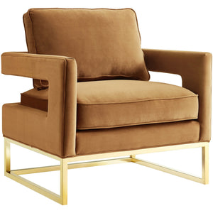 TOV Furniture Modern Avery Cognac Velvet Chair TOV-A128-Minimal & Modern