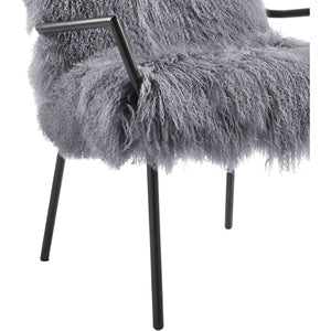 TOV Furniture Modern Lena Grey Sheepskin Chair TOV-A130-Minimal & Modern