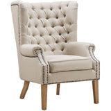 TOV Furniture Modern Abe Beige Linen Wing Chair , Armchair - TOV Furniture, Minimal & Modern - 2