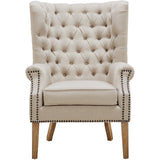 TOV Furniture Modern Abe Beige Linen Wing Chair , Armchair - TOV Furniture, Minimal & Modern - 3