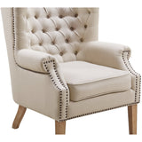 TOV Furniture Modern Abe Beige Linen Wing Chair , Armchair - TOV Furniture, Minimal & Modern - 4
