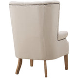 TOV Furniture Modern Abe Beige Linen Wing Chair , Armchair - TOV Furniture, Minimal & Modern - 6