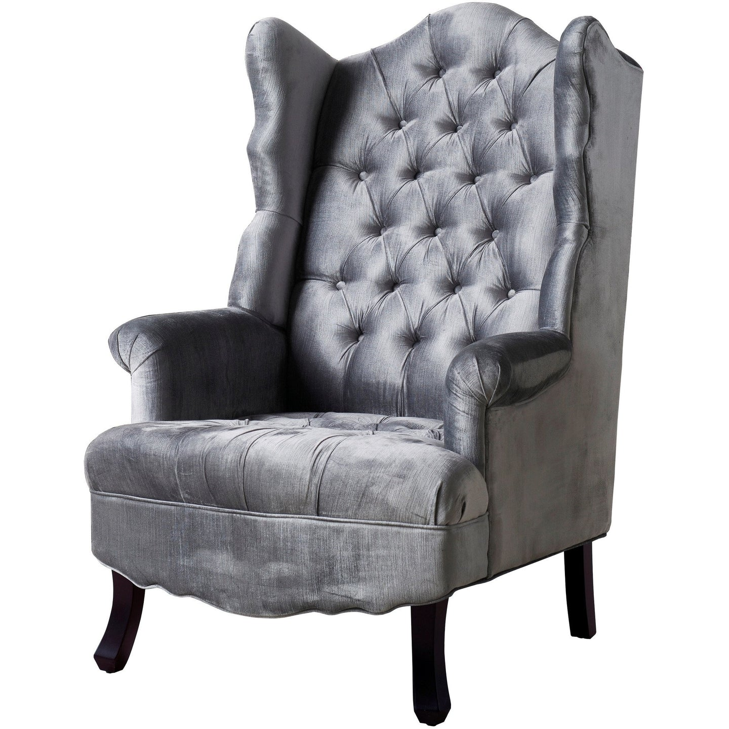 TOV Furniture Modern Madison Grey Velvet Wing Chair TOV-A35-Grey-Minimal & Modern