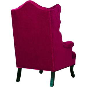 TOV Furniture Modern Madison Pink Velvet Wing Chair TOV-A35-Pink-Minimal & Modern