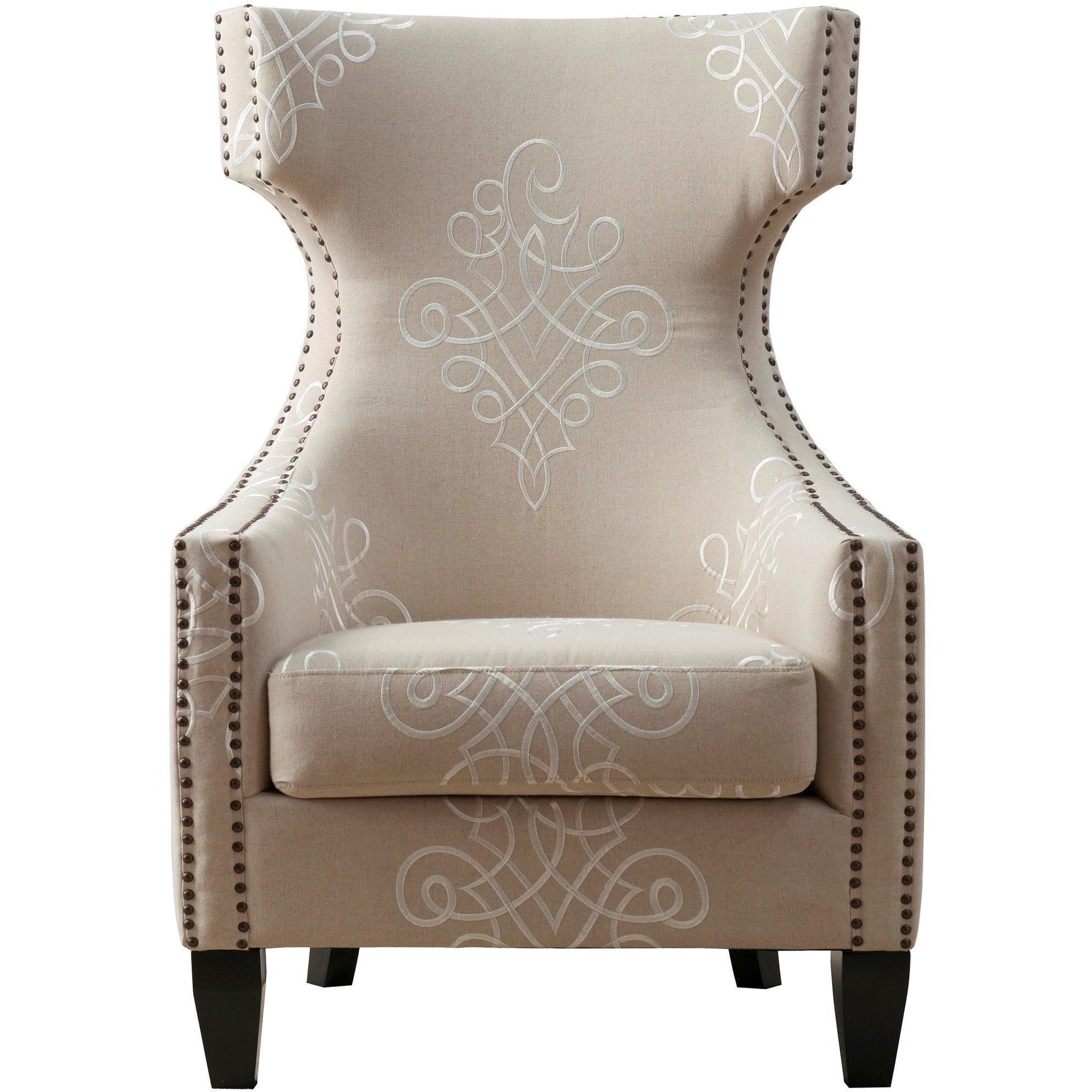 ... TOV Furniture Modern Gramercy Embroidered Linen Wing Chair , Armchair    TOV Furniture, ...