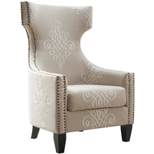 TOV Furniture Modern Gramercy Embroidered Linen Wing Chair TOV-A36-Minimal & Modern