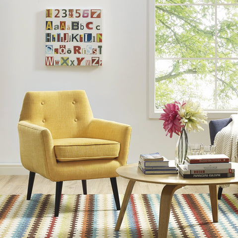 TOV Furniture Modern Clyde Mustard Yellow Linen Chair , Armchair - TOV Furniture, Minimal & Modern - 1