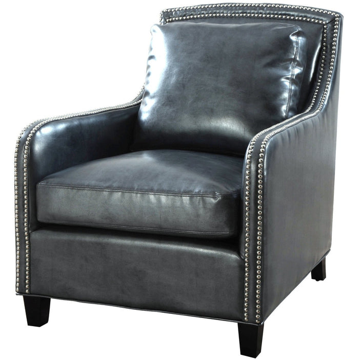 TOV Furniture Modern Greenwich Graphite Metallic Leather Club Chair TOV-A44-Minimal & Modern