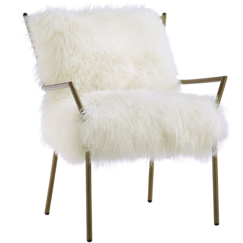 TOV Furniture Modern Lena White Sheepskin Chair , Armchair - TOV Furniture, Minimal & Modern - 1