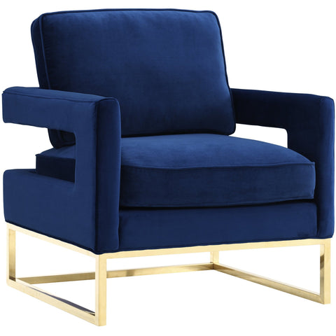 TOV Furniture Modern Avery Navy Velvet Chair , Armchair - TOV Furniture, Minimal & Modern - 1