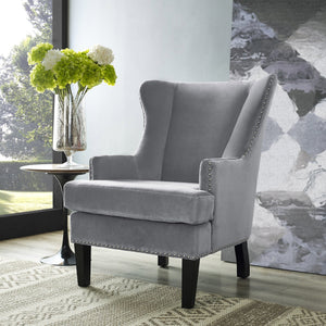 TOV Furniture Modern Soho Grey Velvet Wing Chair TOV-A92-Minimal & Modern