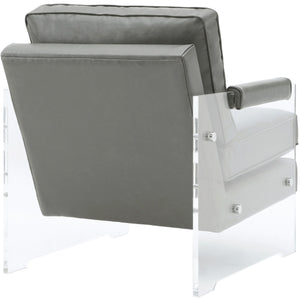 TOV Furniture Modern Serena Grey Eco Leather/Lucite Chair TOV-A98-Minimal & Modern