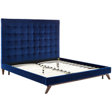 TOV Furniture Modern Eden Navy Velvet Bed in Queen TOV-B26-Minimal & Modern