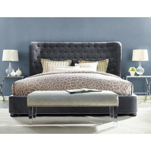 TOV Furniture Modern Finley Grey Velvet Bed in King TOV-B19-K-Minimal & Modern