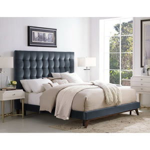 TOV Furniture Modern Eden Grey Velvet Bed in King TOV-B28-Minimal & Modern