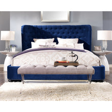 TOV Furniture Modern Finley Blue Velvet Bed in Queen TOV-B32-Minimal & Modern