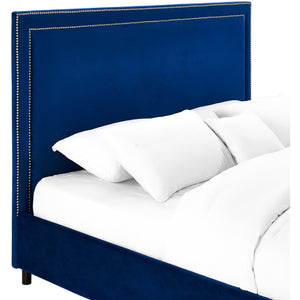 TOV Furniture Modern Reed Navy Velvet Bed in Full TOV-B35-Minimal & Modern