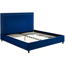 TOV Furniture Modern Reed Navy Velvet Bed in Queen TOV-B37-Minimal & Modern